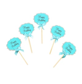 CUPCAKE TOPPERS 'HAPPY BIRTHDAY/BLAUW' (5ST)
