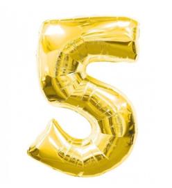 FOLIE BALLON CIJFER '5 GOUD' (1ST)