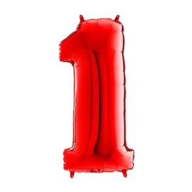 FOLIE BALLON CIJFER '1 ROOD' (1ST)
