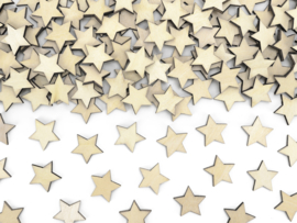 CONFETTI HOUT 'STERREN' NATURAL CHRISTMAS (50ST)