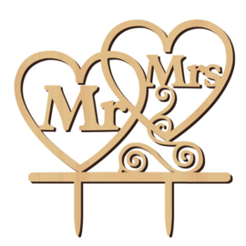 TAARTTOPPER 'MR & MRS' HOUT (1ST)