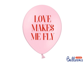 LATEX BALLONNEN 'LOVE MAKES ME FLY' VALENTINES (50ST)