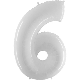 FOLIE BALLON CIJFER '6 WIT' (1ST)