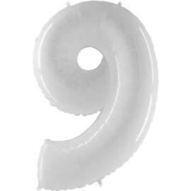 FOLIE BALLON CIJFER '9 WIT' (1ST)