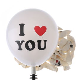 "LATEX BALLONNEN ""I LOVE YOU"" WIT - 10 STUKS"
