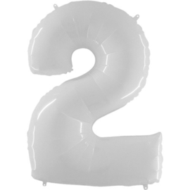 FOLIE BALLON CIJFER '2 WIT' (1ST)