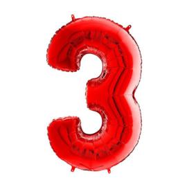 FOLIE BALLON CIJFER '3 ROOD' (1ST)