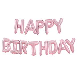 FOLIE BALLONNEN 'HAPPY BIRTHDAY/ROZE' GINGER RAY (1ST)