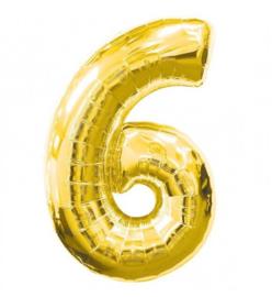 FOLIE BALLON CIJFER '6 GOUD' (1ST)