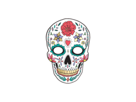 MASKER 'DOODSKOP/WIT' DIA DE LOS MUERTOS (1ST)