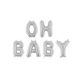 FOLIE BALLON 'OH BABY ZILVER' (1ST)