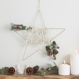 DECORATIEKRANS METAAL 'MERRY CHRISTMAS' GINGER RAY (1ST)