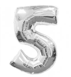 FOLIE BALLON CIJFER '5 ZILVER' (1ST)