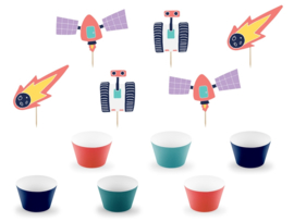 CUPCAKE KIT 'SPACE PARTY' (12ST)