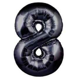 FOLIE BALLON CIJFER '8 ZWART'(1ST)