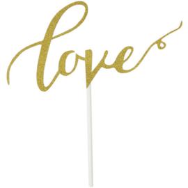 TAARTTOPPER 'LOVE GOUD/GLITTER' (1ST)