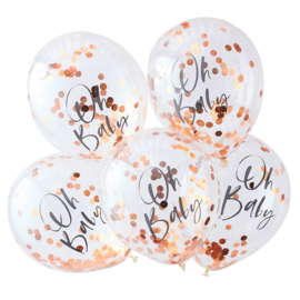 LATEX BALLONNEN CONFETTI 'OH BABY' GINGER RAY (5ST)