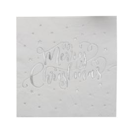 SERVETTEN 'MERRY CHRISTMAS/ZILVERFOLIE' GINGER RAY (20ST)