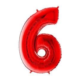 FOLIE BALLON CIJFER '6 ROOD' (1ST)