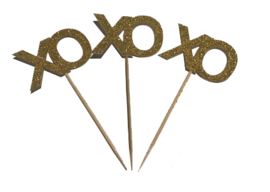 CUPCAKE TOPPERS 'XO XO' GOUD GLITTER (10ST)