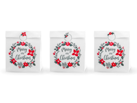 CADEAUZAKJES WIT 'MERRY LITTLE CHRISTMAS' (3ST)