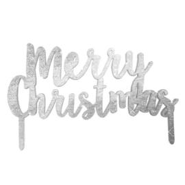 TAARTTOPPER 'MERRY CHRISTMAS' SILVER METALLIC STAR - 1 STUKS