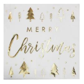 SERVETTEN 'MERRY CHRISTMAS/GOUDFOLIE' GINGER RAY (16ST)