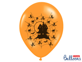 LATEX BALLONNEN 'HAUNTED HOUSE' (6ST)