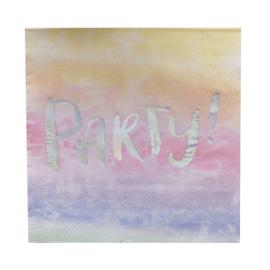 SERVETTEN 'PARTY! REGENBOOG/IRISEREND' IRIDESCENT PARTY - 20 STUKS