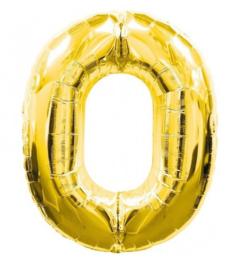 FOLIE BALLON CIJFER '0 GOUD' (1ST)