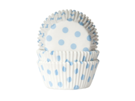 CUPCAKE VORMPJES 'POLKA DOTS PASTEL BLAUW' HOUSE OF MARIE (50ST)
