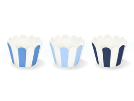 CUPCAKE WRAPPERS 'BLAUW' (6ST)