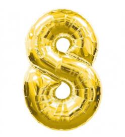 FOLIE BALLON CIJFER '8 GOUD' (1ST)