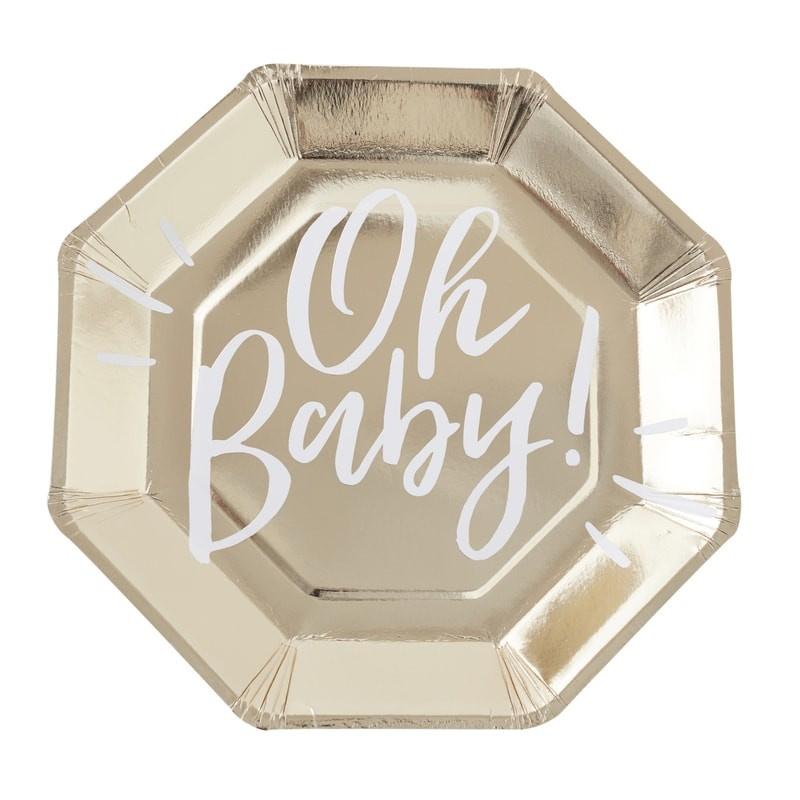 PAPIEREN BORDEN 'OH BABY!' GINGER RAY (8ST)