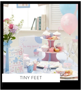 Tiny Feet Babyshower versiering decoratie Collecties van merk Ginger Ray talking Tables Meri Meri Hootyballoo Neviti feestartikelen online kopen