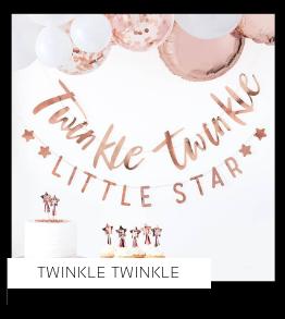 Twinkle Twinkle Babyshower versiering decoratie Collecties van merk Ginger Ray talking Tables Meri Meri Hootyballoo Neviti feestartikelen online kopen