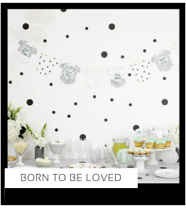 Born to be Loved Babyshower versiering decoratie Collecties van merk Ginger Ray talking Tables Meri Meri Hootyballoo Neviti feestartikelen online kopen