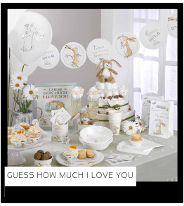 Guess how much i love you Babyshower versiering decoratie Collecties van merk Ginger Ray talking Tables Meri Meri Hootyballoo Neviti feestartikelen online kopen