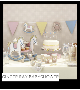 Babyshower versiering decoratie Collecties van merk Ginger Ray talking Tables Meri Meri Hootyballoo Neviti feestartikelen online kopen