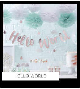 Hello World Babyshower versiering decoratie Collecties van merk Ginger Ray talking Tables Meri Meri Hootyballoo Neviti feestartikelen online kopen