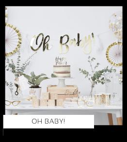 Oh Baby! Babyshower versiering decoratie Collecties van merk Ginger Ray talking Tables Meri Meri Hootyballoo Neviti feestartikelen online kopen