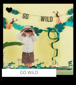 Go Wild Wilde Avonturen Dieren Safari kinderfeestje verjaardag thema feestartikelen en feestversiering van het merk Meri Meri My Little Day kopen bij PretaPret altijd hip en trendy