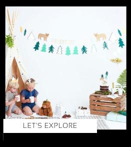 Let's Explore Wilde Avonturen Kamperen kinderfeestje verjaardag thema feestartikelen en feestversiering van het merk Meri Meri My Little Day kopen bij PretaPret altijd hip en trendy
