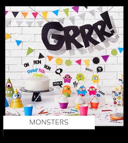 Monsters Kinderfeestje verjaardag thema Feestartikelen en Feestversiering kopen van het merk Partydeco altijd hip en trendy bij PretaPret