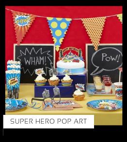 Super Hero Pop Art Helden kinderfeestje verjaardag thema feestartikelen feestversiering van het merk Meri Meri My Little Day Partydeco kopen bij PretaPret altijd hip en trendy