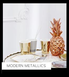 Modern Metallics Verjaardag versiering collecties thema merk Ginger Ray Partydeco Talking Tables Meri Meri My Little Day My Mind's Eye Feestartikelen online kopen hip, stylish & trendy