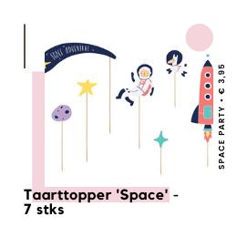 Taarttopper Space Party Ruimte feestje Kinderfeestje hippe feestartikelen en feestversiering