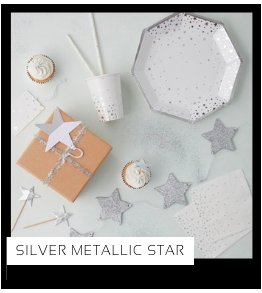 Silver Metallic Star Kerstversiering Kerst decoratie Kerstfeest Feestartikelen van het merk Ginger Ray, hip, stylish & trendy