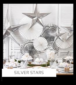 Silver Stars Kerstversiering Kerst decoratie Kerstfeest Feestartikelen van het merk Partydeco Poland, hip, stylish & trendy
