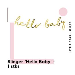 Hello Baby Slinger Babyshower versiering hippe feestartikelen feestversiering